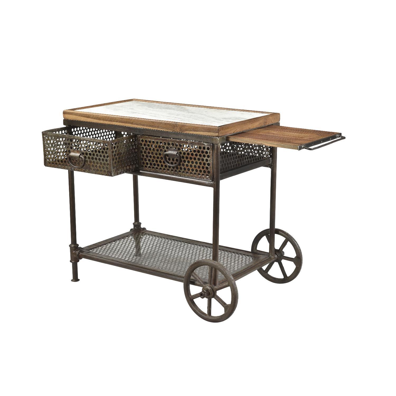 Designe Gallerie Gerard Metal Marble Wood Cart