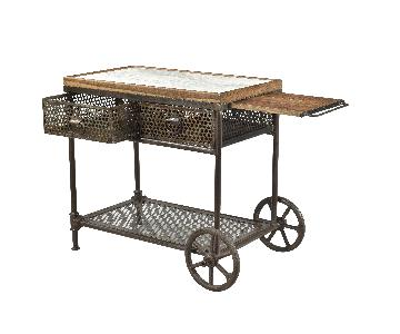 Designe Gallerie Gerard Metal Marble Wood Cart