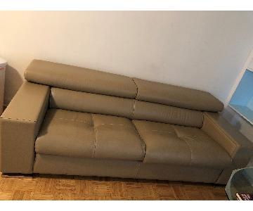 Jensen-Lewis Tan Leather Sofa