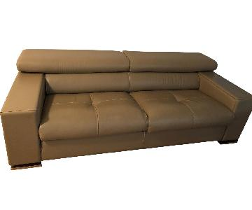 Jensen-Lewis Tan Leather Sofa