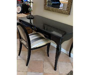 Black Lacquer Entryway/Desk & Chair