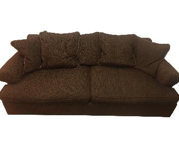 Brown Fabric Sofa w/ Slight Gold Accent
