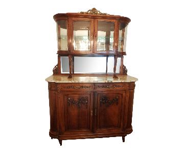 1930s Belle Epoque Buffet & Hutch w/ Round Glass Sides