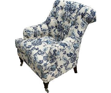 Barclay Butera Home Blue Floral Tufted Club Chair