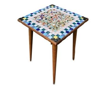 Mid Century Side Table w/ Mosaic Tile Top