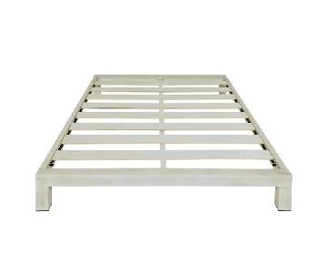 Instyle Modern White Metal Low Profile Platform Bed