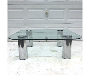 Pace Mid-Century Modern Glass & Chrome Coffee Table