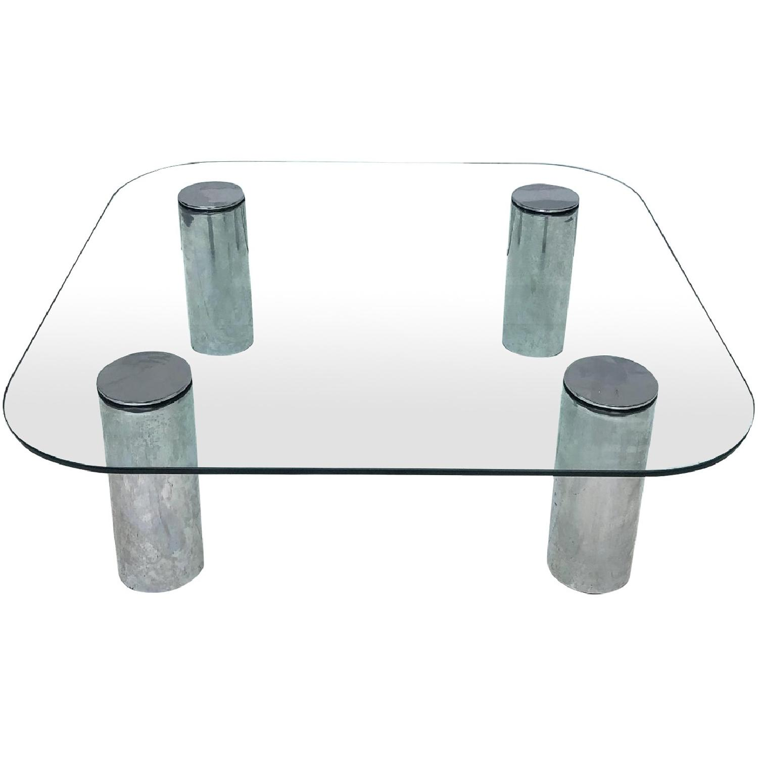 Pace Mid Century Modern Glass Chrome Coffee Table