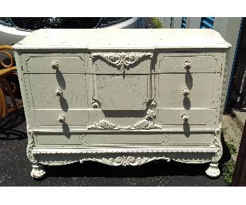 Antique Rustic Distressed 3-Drawer White Dresser
