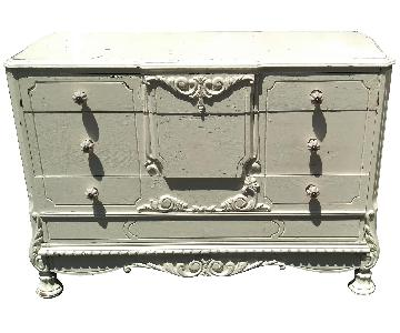 Antique Rustic Distressed 3-Drawer White Dresser