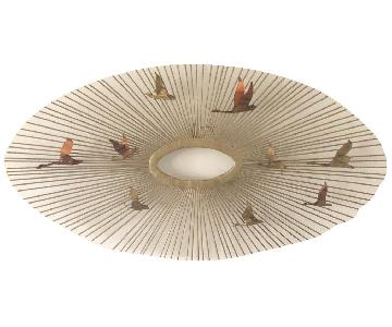 Mid-Century Modern Sunburst w/ Birds Wall Art