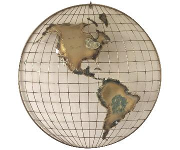 C. Jere Vintage Metal Globe Wall Sculpture