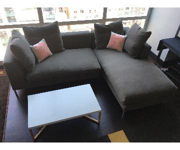2-Piece Grey Fabric Sectional Sofa