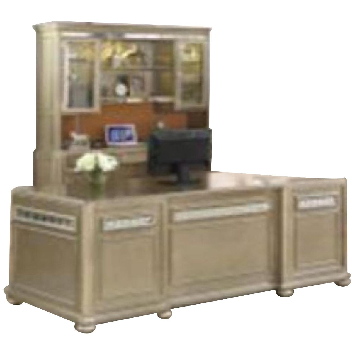Credenza w/ Hutch in Metallic Finished Wood