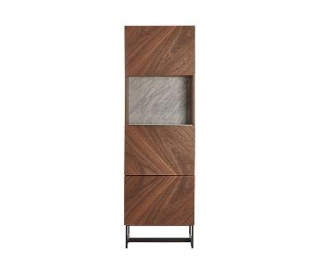 CB2 Wood/Marble Tall Bar Cabinet