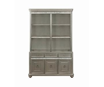 Double Bookcase w/ Metallic Finished Wood