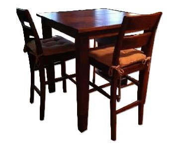Crate & Barrel Basque High Dining Table w/ 2 Stools