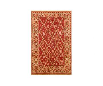 Pottery Barn Aiden Red-Gold Patterned Wool Area Rug