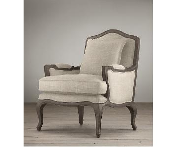 Restoration Hardware Upholstered Chair & Ottoman