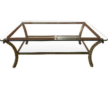 Fortunoff Glass & Bronze Coffee Table