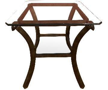 Fortunoff Glass & Bronze End Table