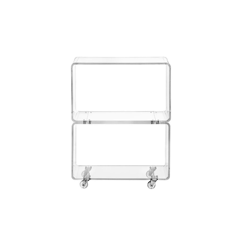 CB2 Peekaboo Acrylic Lucite Rolling Shelf