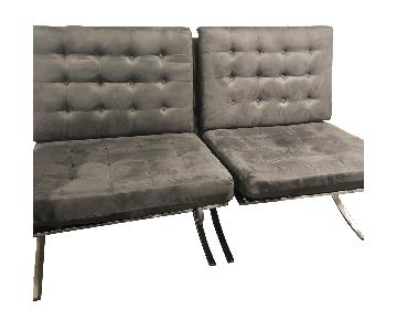 Gray Suede Microfiber Barcelona Chairs