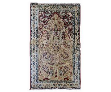 Antique Handmade Prayer Persian Kerman Lavar Rug