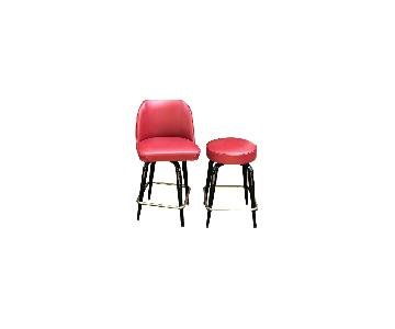 Red Faux Leather Counter Height Bar Stools