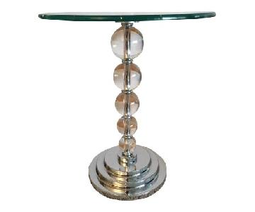 Contemporary Lucite Ball & Chrome Round Glass Top Side Table