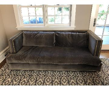 Custom Made Gray Microsuede Sofa w/ Gold Rivets