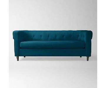 West Elm Custom Chester Sofa in Performance Velvet Lagoon