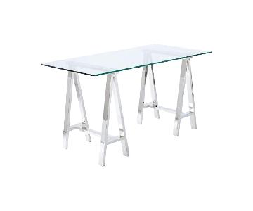 West Elm Cross Base Desk w/ Glass Top/Nickel Base
