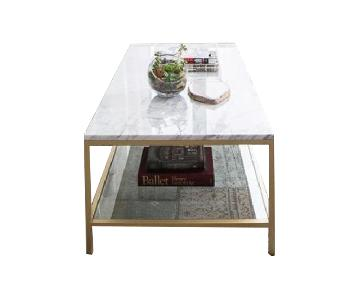 James Devlin Julia Coffee Table in Brass w/ Carrera Marble