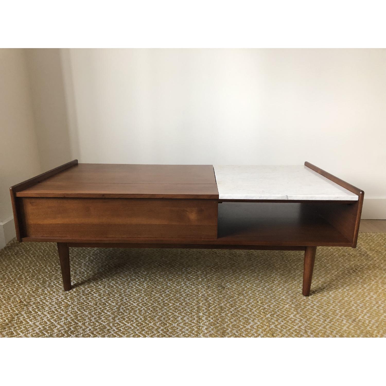West Elm Mid-Century Pop-Up Storage Coffee Table in Walnut