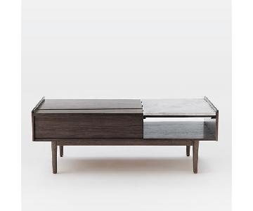 West Elm Mid-Century Pop-Up Storage Coffee Table in Walnut
