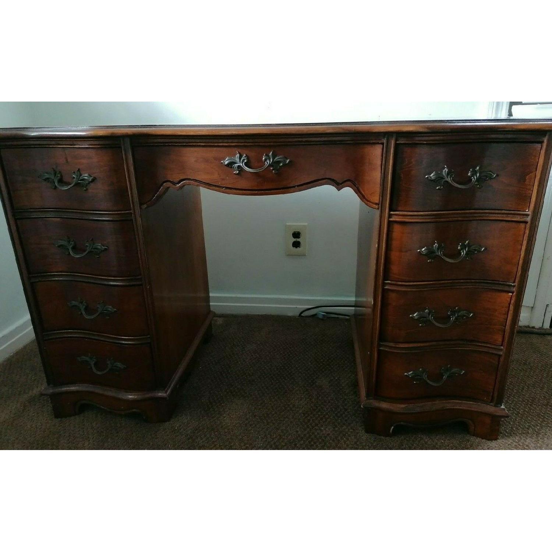 Vintage Dark Wood Kneehole Secretary Desk w/ Drawers