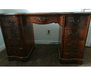 Vintage Dark Wood Kneehole Secretary Desk w/ Drawers