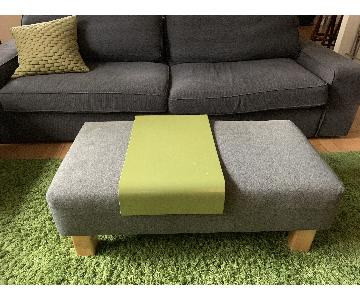 CB2 Grey Fabric Bench/Ottoman w/ Tray