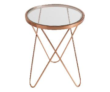 World Market Rose Gold Accent Table w/ Glass Top