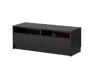 Ikea Black TV Stand w/ Storage & Cord Outlets