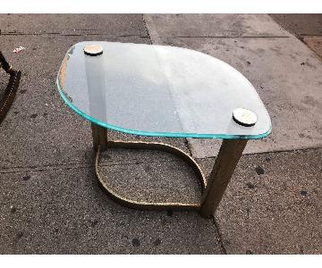 Mid Century Glass & Metal Coffee Table