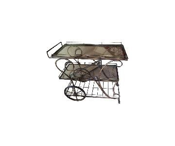 3-Tier Rolling Bar/Plant Cart in Gold Bronze Finish