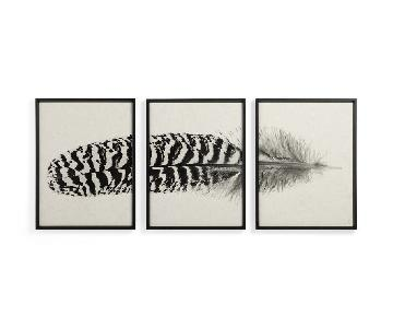 Arhaus Large Printed Hawk Feather Triptych