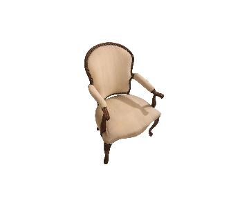 Nailhead Trim Upholstered Accent Chair w/ Curved Wood