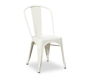 Tabouret Bistro Steel Dining Chairs in Powder Coated White