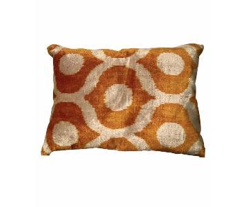 Silk Velvet Turkish Lumbar Pillow w/ Amber & Ivory Pattern
