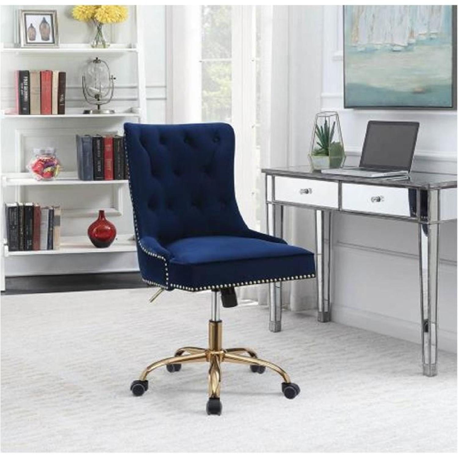Office Chair w/ Blue Velvet Upholstery & Tufted Buttons - image-2
