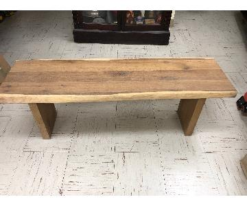Wood Side Bench w/ Slab Top