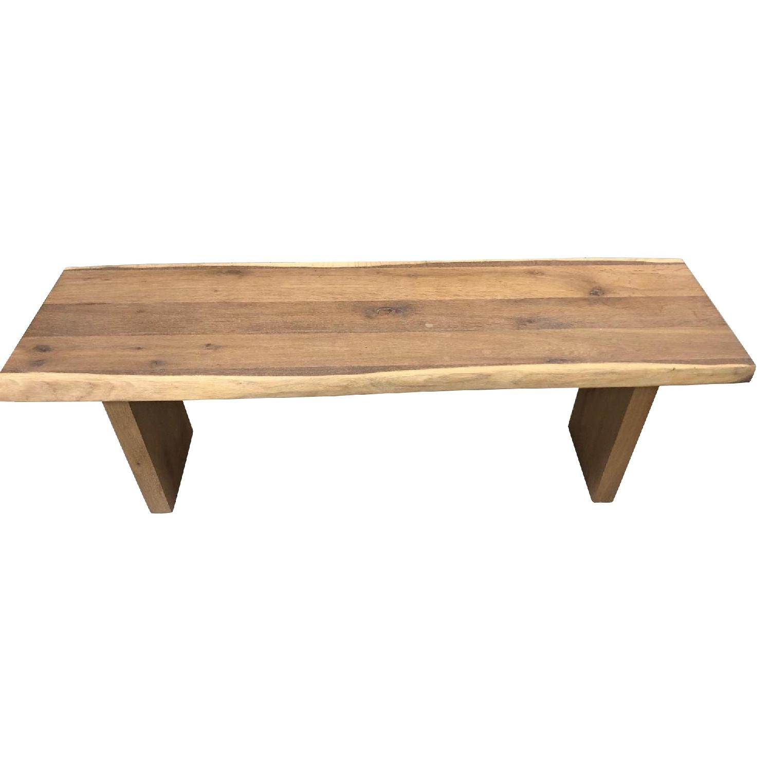 Wood Side Bench w/ Slab Top
